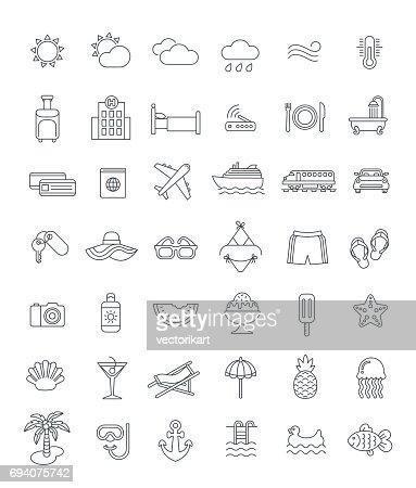 Summer vacation travel thin line vector icons : Vector Art