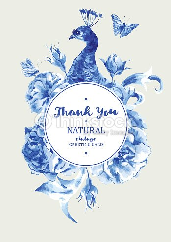 Summer vintage wedding invitation round frame with blue peacock summer vintage wedding invitation round frame with blue peacock vector art stopboris Image collections