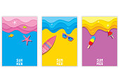 Illustration vector eps 10 of colorful background design with summer element set cover or template.