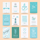 Summer holiday, sea vacation, ocean trip card, wedding flyer, party invitation, poster. Hipster collection of summertime templates, hand drawn design elements, marine symbols, vector illustrations.
