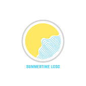 summertime with linear waves. concept of trip, island, relax, sunrise or sunset, sunny coast, marine journey. flat style trend modern brand design vector illustration on white background