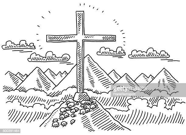 Summit Cross Mountain Landscape Drawing