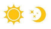 Sun and moon flat icon. Sign sun and moon. Vector icon,