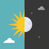 Sun and moon icon on day and night background for use in weather forecast or symbol, flat design vector