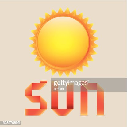sun and riboon : Vector Art