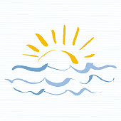 Travel  template sun with sea waves