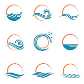 abstract collection of sun and sea icons