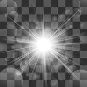 Vector Illustration Of Sun burst on transparency background