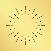 Vector sun burst vintage hand drawn hipster retro clock ray logo. Golden shiny metal texture background