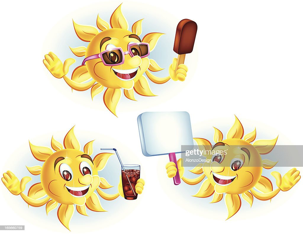 sun cartoon characters vector art getty images