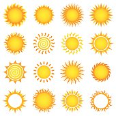 Set of sun vector illustrations.