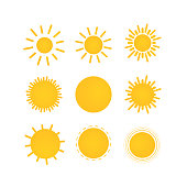 Sunny weather icons set. Sun doodle illustration