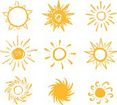 Sun drawn vector icons set on white background