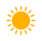 Sun flat design simple icon. Vector summer illustration.