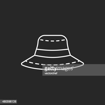 sun hat line icon : Vector Art