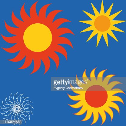 Sun icon set vector eps10. Set of yellow icons of the sun, isolated on blue background. : stock vector
