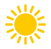 Sun icon. Flat design illustration