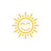 smile sun mono line style, vector icon