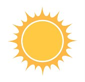Sun icon. Flat design vector