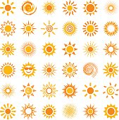 Sun icon collection - vector illustration
