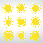 Sun icons vector isolated vector on a white backround.