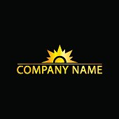 Sun Logo With Golden Effect, Eps8 File, Vector, Illustration