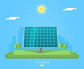 Banner for sun panel. Solar energy for city charging