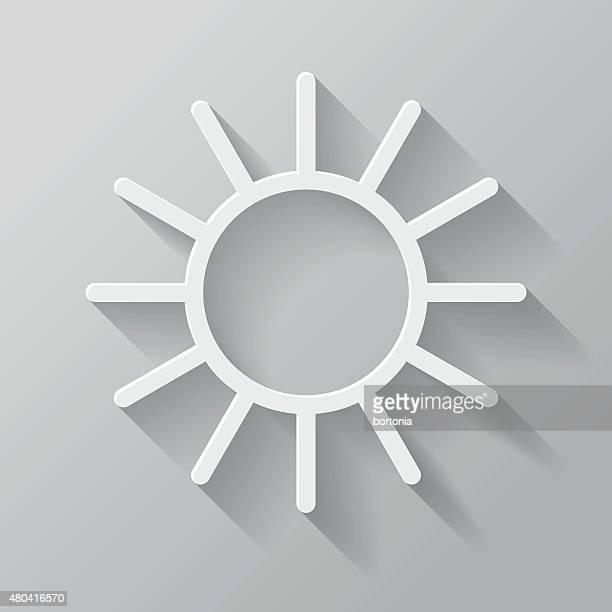 Sun papier fine ligne avec Long ombre icône de l'Interface