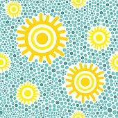 Sun pattern vector seamless. Yellow sunny kids wallpaper print on green background.