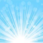 Sun rise, rays or sparkles on blue sky. Vector.