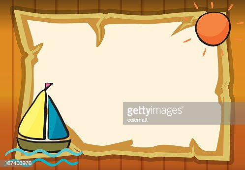 Sun, ship and paper sheet : Vector Art