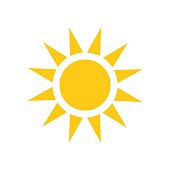 Sun vector icon. Summer sunshine illustration on white isolated background. Sun sunlight concept.