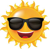 Sun With Sunglasses, With Gradient Mesh, Vector Illustration