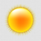 Sun With Transparent Background With Gradient Mesh, Vector Illustration