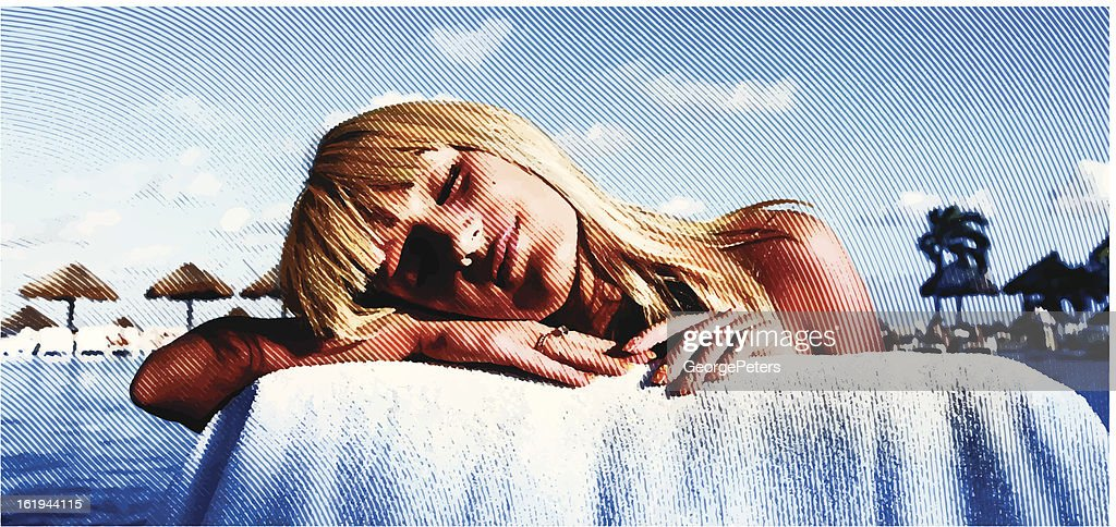 Sunbathing And Daydreaming : Vector Art