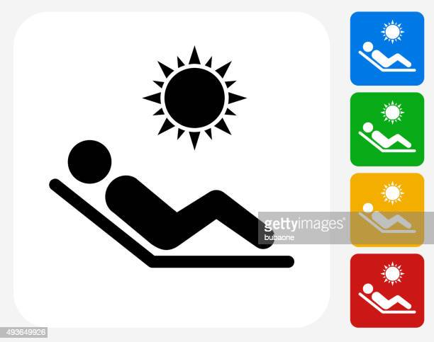 Sunbathing Icon Flat Graphic Design