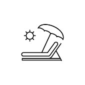 sunbed, umbrella icon. Element of travel illustration. Signs and symbols can be used for web, logo, mobile app, UI, UX on white background