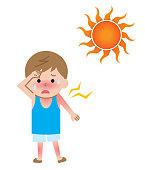 uv rays damage boy kid skin illustration. Isolated on white background