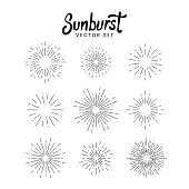 Sunburst vector set on white