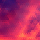 Sundown themed blurry background with hex grid