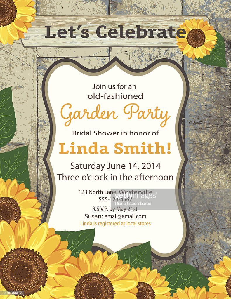 Sunflower Bridal Shower Invitation Template Vector Art Getty Images
