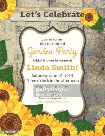 sunflower bridal shower invitation template vector art  getty images, Bridal shower invitations