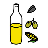 Sunflower, olives, corn oil in glass jar. Vector icon. Cooking concept
