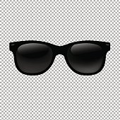 Sunglasses In Transparent Background With Gradient Mesh, Vector Illustration