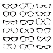 Sunglasses silhouette of different types and sizes . Vector pictures isolated. Illustration of sunglasses accessory collection