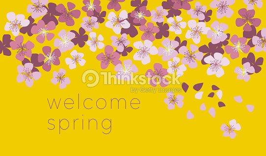 Sunny yellow color decorative cherry blossom spring floral vector sunny yellow color decorative cherry blossom spring floral vector illustration for card invitation stopboris Choice Image