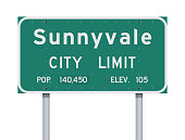 Vector illustration of the Sunnyvale City Limit green road sign