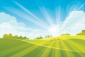 Sunrise summer or spring landscape - vector illustration