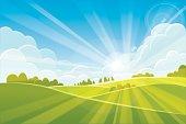 Sunrise summer or spring landscape - vector illustration
