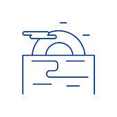 Sunset, evening sea line concept icon. Sunset, evening sea flat  vector website sign, outline symbol, illustration.